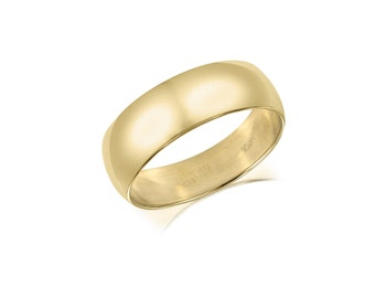 10K Solid Yellow Gold Regular Fit Plain Wedding Band Ring 5.0mm Size 5-13 - Polished