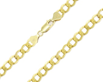 "10K Yellow Gold Hollow Cuban Necklace Chain 7.5mm 20-30"" - Round Curb Link"