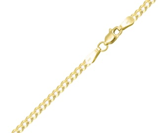 "14K Solid Yellow Gold Cuban Bracelet 3.0mm 7-9"" - Curb Chain Link"