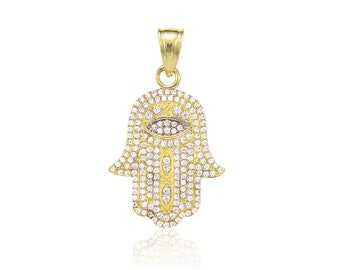 10K Solid Yellow Gold Cubic Zirconia Hamsa Hand Evil Eye Pendant - Good Luck Necklace Charm