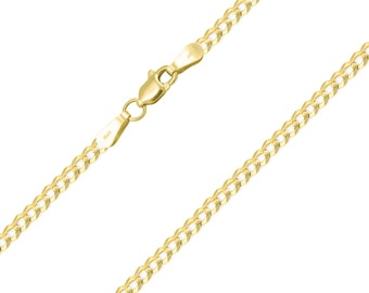 "10K Solid Yellow Gold Custom Cuban Choker Necklace Chain 2.0-3.0mm 11-15"" - Round Curb Link"