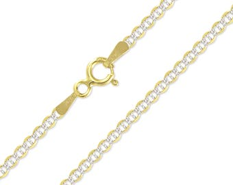 "14K Solid Yellow Gold White Pave Mariner Necklace Chain 1.5mm 16-24"" - Diamond Cut Anchor Link"