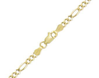 "10K Solid Yellow Gold Figaro Bracelet 6.0mm 7-9"" - Polished Chain Link"