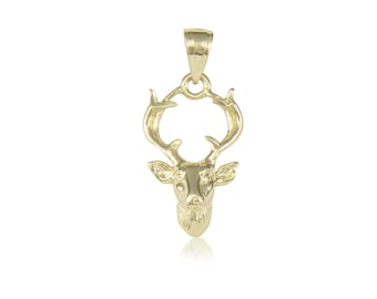 14K Solid Yellow Gold Deer Head Pendant - Buck Male Necklace Charm