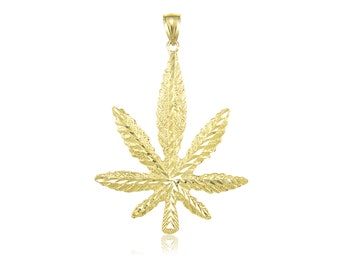 10K Solid Yellow Gold Marijuana Leaf Pendant - Cannabis Weed Pot Necklace Charm
