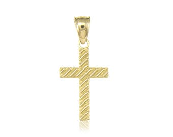 14K Solid Yellow Gold Cross Pendant - Polished Plain Latin Crucifix Necklace Charm