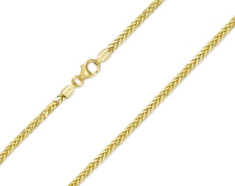 "10K Yellow Gold Hollow Wheat Necklace Chain 2.0mm 18-30"" - Link"