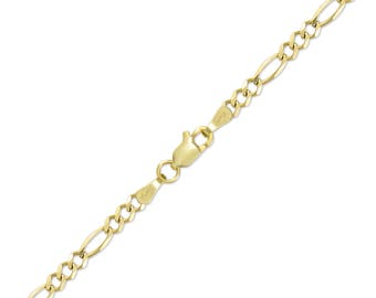 "10K Solid Yellow Gold Figaro Bracelet 4.0mm 7-9"" - Polished Chain Link"