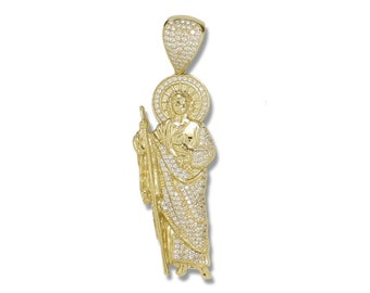 10K Solid Yellow Gold Cubic Zirconia Saint Jude Pendant - San Judas Thaddeus Necklace Charm
