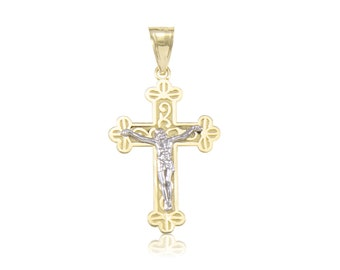 10K Solid Yellow White Gold Crucifix Cross Pendant - Jesus Polished Necklace Charm