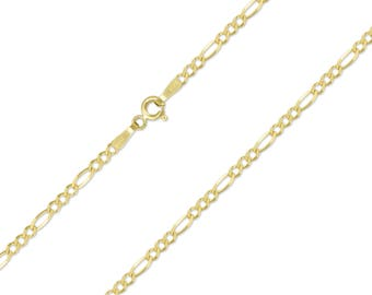 "14K Solid Yellow Gold Custom Figaro Choker Necklace Chain 2.0-3.0mm 11-15"" - Polished Link"