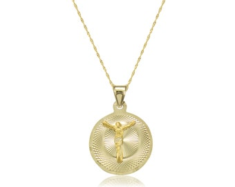 14K Solid Yellow Gold Jesus Round Medal Pendant Singapore Chain Necklace Set - Christ Crucifix Charm