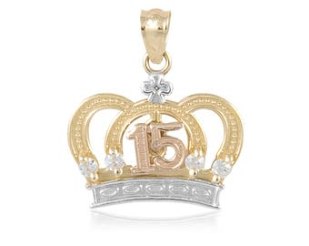 14K Solid Yellow White Rose Gold Cubic Zirconia Crown Sweet 15 Pendant - Quinceanera Anos Birthday Necklace Charm