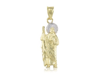14K Solid Yellow White Gold Saint Jude Pendant - San Judas Thaddeus Necklace Charm