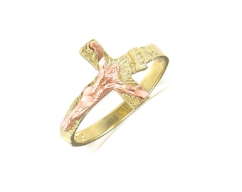 14K Solid Yellow Rose Gold Sideways Crucifix Cross Ring - INRI Jesus Religious Band