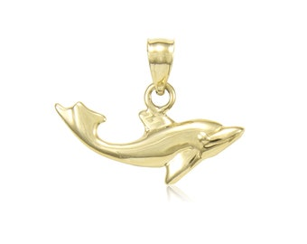 14K Solid Yellow Gold Dolphin Pendant - Fish Polished Necklace Charm