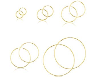14K Yellow Gold Endless Round Hoop Earrings 1.5mm 15-60mm - Classic Polished Plain Tube