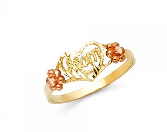 14K Solid Yellow Rose Gold Heart Mom Ring - Flower Number One Mother Band