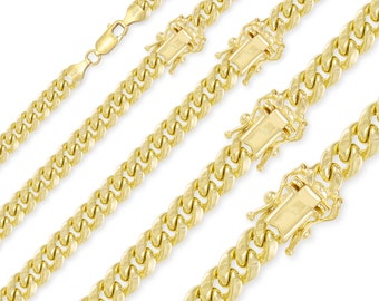"""14K Yellow Gold Hollow Miami Cuban Necklace Chain 4.0-9.5mm 18-30"""" - Round Curb Link"""