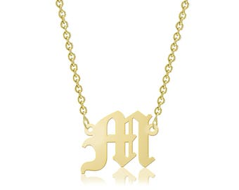 10K Solid Yellow Gold Custom Uppercase Old English Initial Letter Pendant Rolo Chain Choker Necklace Set - A-Z Any Alphabet Charm