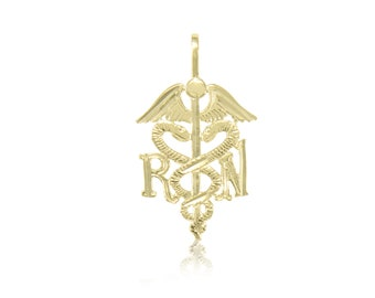 14K Solid Yellow Gold Registered Nurse Caduceus Pendant - RN Medical Necklace Charm