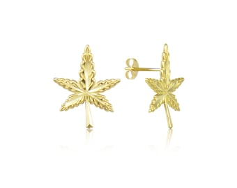 10K Solid Yellow Gold Marijuana Leaf Stud Earrings - Cannabis Weed Pot Ganja