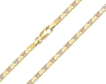 """14K Solid Yellow White Rose Gold Valentino Necklace Chain 3.3mm 16-24"""" - Tri Color Link"""