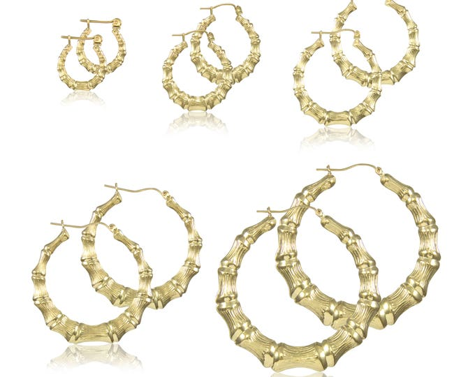 Featured listing image: 10K Yellow Gold Round Bamboo Hoop Earrings - Door Knocker