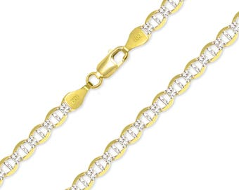 "14K Solid Yellow Gold White Pave Mariner Necklace Chain 5.5mm 20-24"" - Diamond Cut Anchor Link"