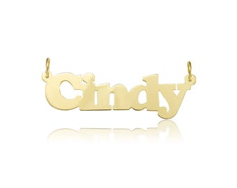14K Solid Yellow Gold Personalized Custom Name Pendant - Alphabet Letter Necklace Charm