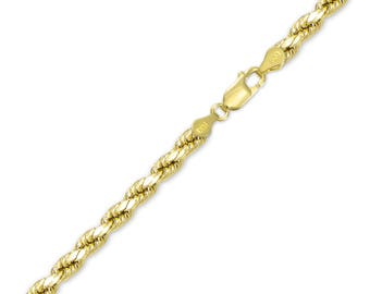 "14K Yellow Gold Hollow Diamond Cut Rope Bracelet 5.0mm 8-9"" - Chain Link"
