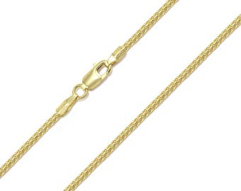 "10K Solid Yellow Gold Franco Necklace Chain 1.4mm 16-30"" - Link"