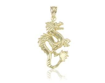 14K Solid Yellow Gold Dragon Pendant - Diamond Cut Necklace Charm