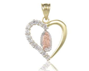 14K Solid Yellow White Rose Gold Cubic Zirconia Heart Virgin Mary Pendant - Tricolor Lady of Guadalupe Necklace Charm