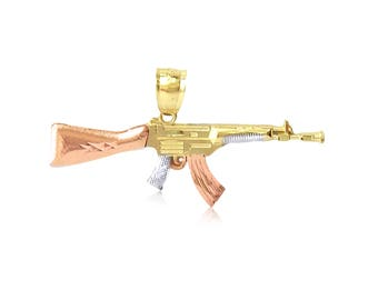 10K Solid Yellow White Rose Gold Rifle Gun Pendant - AK-47 Machine Necklace Charm