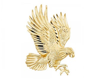 Gold eagle pendant etsy 14k solid yellow gold eagle pendant flying bird diamond cut necklace charm aloadofball Gallery