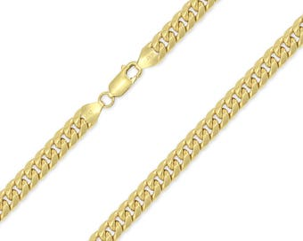 """10K Yellow Gold Hollow Miami Cuban Necklace Chain 7.5mm 24-32"""" - Round Curb Link"""