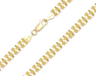 "10K Solid Yellow Gold Rolex Necklace Chain 6.0mm 18-30"" - Watch Band Link"