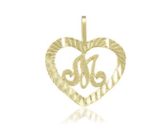 14K Solid Yellow Gold Heart Initial Letter Pendant - A-Z Any Alphabet Necklace Charm