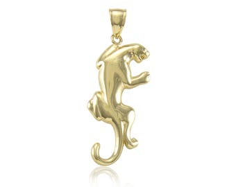 14K Solid Yellow Gold Puma Pendant - Mountain Lion Tiger Necklace Charm