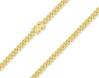 "10K Yellow Gold Hollow Miami Cuban Necklace Chain 7.0mm 22-30"" - Round Curb Link"