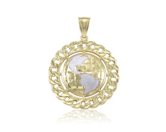 10K Solid Yellow White Gold Curb Link Globe Pendant - World Map Planet Earth Necklace Charm