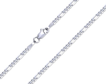 "14K Solid White Gold Classic Figaro Necklace Chain 2.4mm 16-24"" - Polished Link"