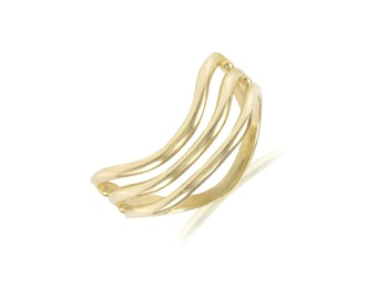 14K Solid Yellow Gold Curved Ring - Wave Plain Stackable Finger Knuckle Midi Thumb Band