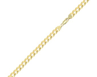 "14K Solid Yellow Gold Cuban Bracelet 4.0mm 7-9"" - Curb Chain Link"