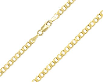 "10K Yellow Gold Hollow Cuban Necklace Chain 4.8mm 18-30"" - Round Curb Link"