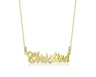 14K Solid Yellow Gold Personalized Custom Cursive Name Pendant Box Chain Necklace Set - Alphabet Letter Charm