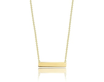 14K Solid Yellow Gold Personalized Custom Horizontal Bar Pendant Rolo Chain Necklace Set - Free Engraving Charm