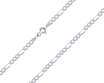 "14K Solid White Gold Figaro Necklace Chain 2.5mm 16-24"" - Polished Link"