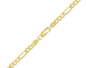 "14K Yellow Gold Hollow Figaro Bracelet 4.5mm 7-9"" - Polished Chain Link"